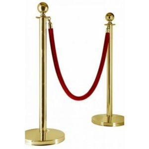 gold post red rope hire