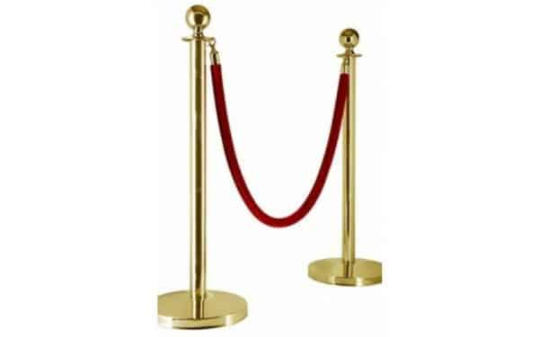 gold barrier post red rope